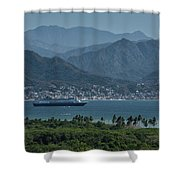 Cruise Ship Leaving Banderas Bay Puerto Vallarta Mexico With Sie Shower Curtain