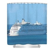 Cruiseship At Dockyard Bermuda Shower Curtain