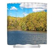 Crum Creek In Autumn Shower Curtain