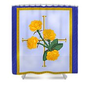 Crusader Cross And Four Gospel Roses Shower Curtain