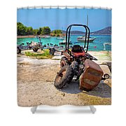 Crushed Tractor By The Sea On Island Prvic Shower Curtain