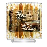 Crusin N Dining On Rt 66 Shower Curtain