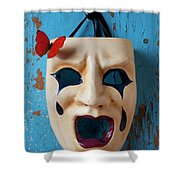 Crying Mask And Red Butterfly Shower Curtain