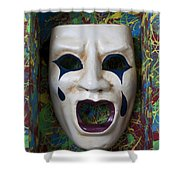 Crying Mask In Box Shower Curtain by Garry Gay