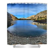 Crypt Lake Gold And Blue Shower Curtain
