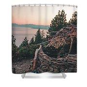 Crystal Bay Hut Shower Curtain