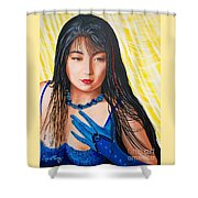 Crystal Blue China Girl            From   The Attitude Girls  Shower Curtain