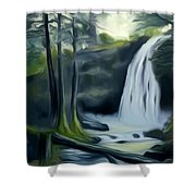 Crystal Falls In The Black Forest Dreamy Mirage Shower Curtain