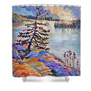 Crystal Light Over The Lake Shower Curtain