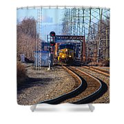 Csx Coming Towards Bound Brook Station Shower Curtain