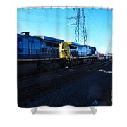 Csx Engines Going Bye Bound Brook Train Stations Shower Curtain