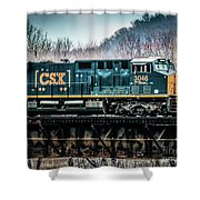 Cs X  Ge Engine 3046 On Trestle Shower Curtain