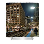 Cta Pulls Into The State-lake Street Station Chicago Illinois Shower Curtain