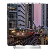 Cta Train On The L At Dusk Chicago Illinois Shower Curtain