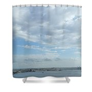 Cuba City And River View Shower Curtain