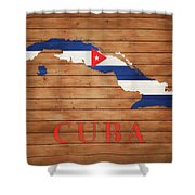 Cuba Rustic Map On Wood Shower Curtain