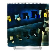 Cubes Reflection Shower Curtain