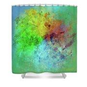 Cubist Rainbow Clouds Shower Curtain