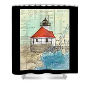 Cuckolds Lighthouse Me Nautical Chart Map Shower Curtain