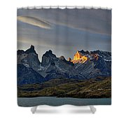 Cuernos Sunset Begins #4 - Patagonia Shower Curtain