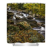 Cullasaja River In Autumn Shower Curtain