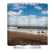 Cumulus Clouds Passing Across The Beach At Skegness Lincolnshire England Shower Curtain