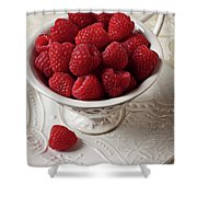 Cup Full Of Raspberries  Shower Curtain by Garry Gay
