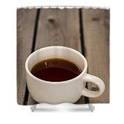 Cup Of Black Coffee On Bare Table Shower Curtain