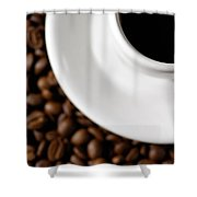Cup Of Black Coffee On Coffee Beans Shower Curtain