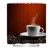 Cup Of Coffe Latte On Coffee Beans Shower Curtain