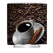 Cup Of Coffe On Coffee Beans Shower Curtain