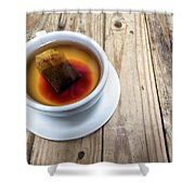 Cup Of Hot Tea On Wood Table Shower Curtain