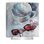 Cup With Cherry Shower Curtain