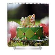 Cupcake With Green Icing And Happy St-pat's Day Written On It.  Shower Curtain