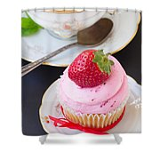 Cupcake With Strawberry Shower Curtain