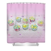 Cupcakes And Butterflies Shower Curtain
