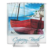 Cupecoy Beach Poster Shower Curtain