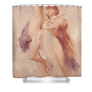 Cupid And Psyche Shower Curtain by William Adolphe Bouguereau