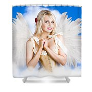 Cupid Angel Of Love Flying High With Fairy Wings Shower Curtain