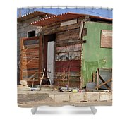 Curacao Wooden Shack  Shower Curtain
