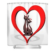 Curiosity Heart Loves The Cats Shower Curtain