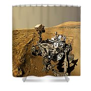 Curiosity Self-portrait At Windjana Drilling Site Shower Curtain