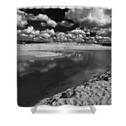 Curl Curl Beach With Dramatic Sky Shower Curtain