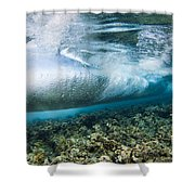 Curl Of Wave From Underwater Shower Curtain by Dave Fleetham - Printscapes