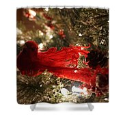 Curly Cardinal Shower Curtain