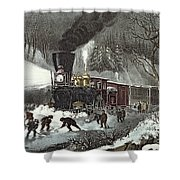 Currier And Ives Shower Curtain by American Railroad Scene