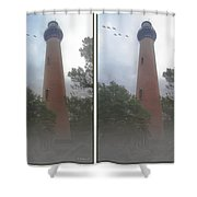 Currituck Beach Light Station - 3d Stereo Crossview Shower Curtain