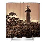 Currituck Beach Lighthouse - Sepia Shower Curtain