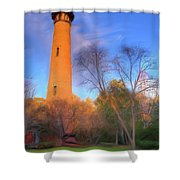 Currituck Lighthouse In Winter Outer Banks Ap Shower Curtain