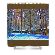 Curry Cabins Christmas Day Shower Curtain